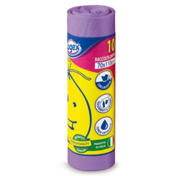 Sacchi per immondizia - 70x110 cm - 120 L - 16 micron - viola - Logex Professional - rotolo da 10 sacchetti