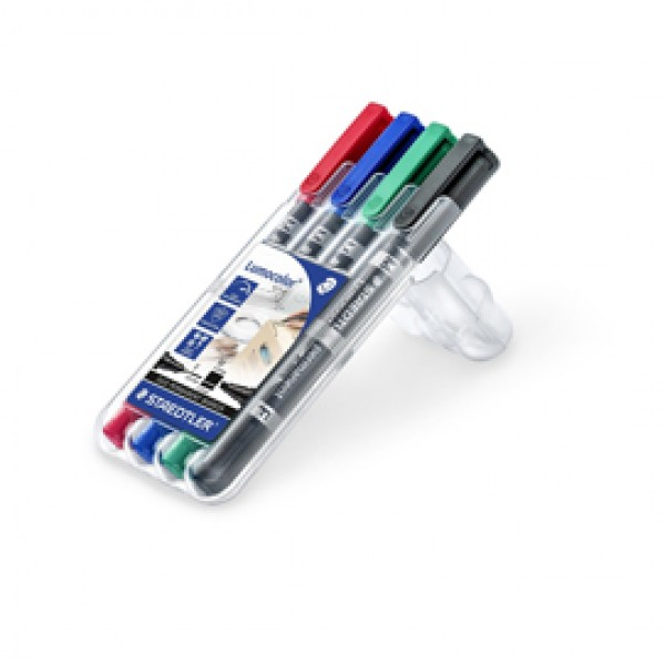 Pennarelli Lumocolor Permanent Duo 348 - una punta 0,6mm - una punta 1,5mm - astuccio 4 colori - Staedtler