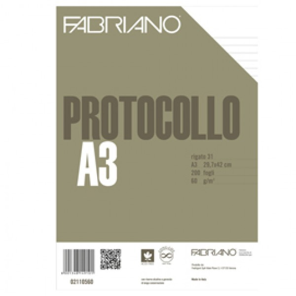 Fogli protocollo - A4 - 1 rigo - 200 fogli - 60 gr - Fabriano