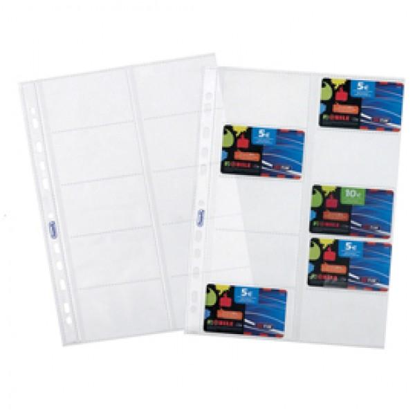 Buste forate porta cards - PPL - 10 tasche - 21,5x29,7 cm - trasparente - Favorit - conf. 10 pezzi