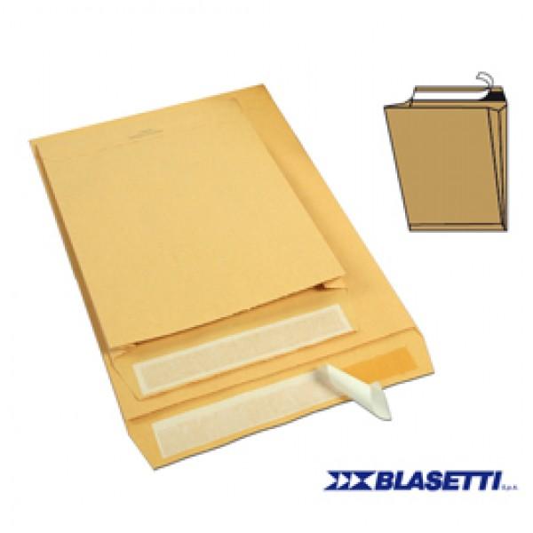Busta a sacco avana - serie Monodex - soffietti laterali - strip adesivo - 300x400x40 mm - 120 gr - Blasetti - conf. 250 pezzi