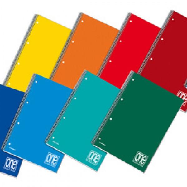 Quaderno One Color - A5 - quadretto 5mm - 60 fogli - 80gr - 4 fori - spiralato - Blasetti