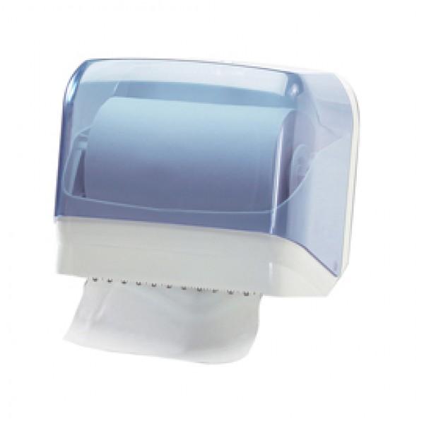 Dispenser per asciugamani in rotolo/fogli - 30x19,5x25,1 cm - plastica - bianco/azzurro trasparente - Mar Plast