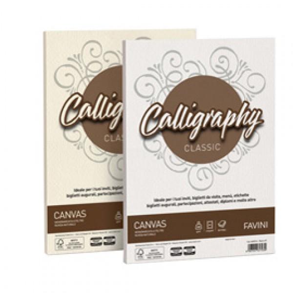 Carta e cartoncino Canvas Calligraphy Ruvido Favini - bianco - A4 - 200 gr. A690314 (conf.50)