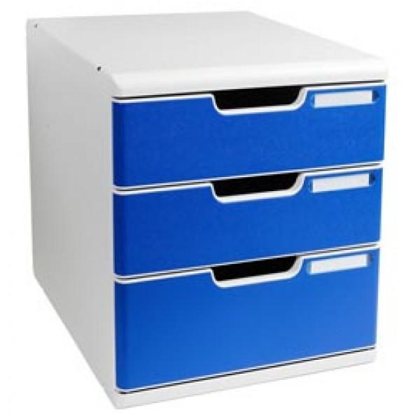 Cassettiera Modulo A4 - 35x28,8x32 cm - 3 cassetti - grigio/blu - Exacompta