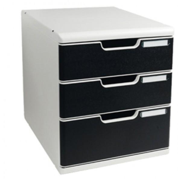 Cassettiera Modulo A4 -  35x28,8x32 cm - 3 cassetti - grigio/nero - Exacompta