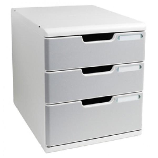 Cassettiera Modulo A4 -  35x28,8x32 cm - 3 cassetti - grigio/granito - Exacompta