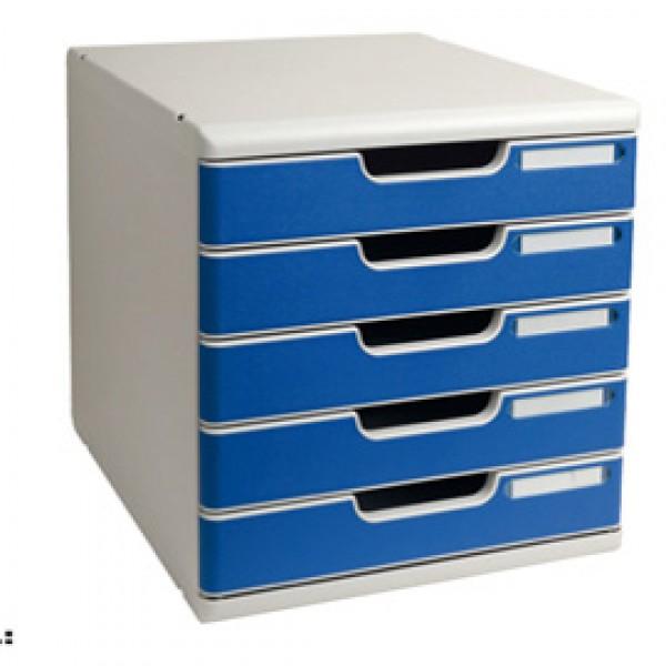 Cassettiera Modulo A4 -  35x28,8x32 cm - 5 cassetti - grigio/blu - Exacompta