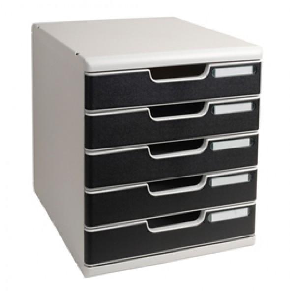 Cassettiera Modulo A4 -  35x28,8x32 cm - 5 cassetti - grigio/nero - Exacompta