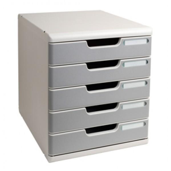 Cassettiera Modulo A4 -  35x28,8x32 cm - 5 cassetti - grigio/granito - Exacompta