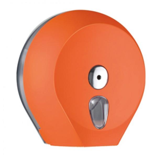 Dispenser Soft Touch di carta igienica in rotolo Mini Jumbo - 27x12,8x27,3 cm - plastica - arancio - Mar Plast