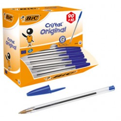 Dispenser value pack 90+10 penna sfera CRISTAL medio 1,0mm blu Bic - 942910