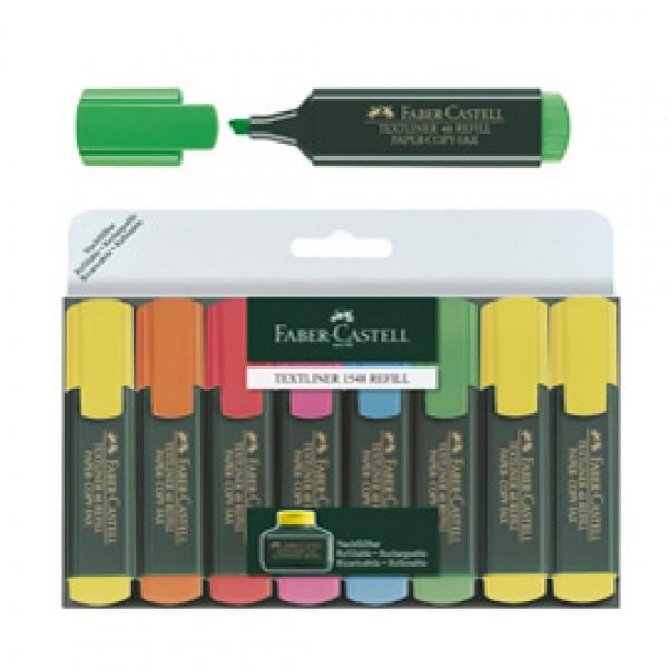 Evidenziatore Textliner 48 - punta a scalpello -  tratto 1,0-3,0-5,0mm - astuccio 8 colori - Faber Castell