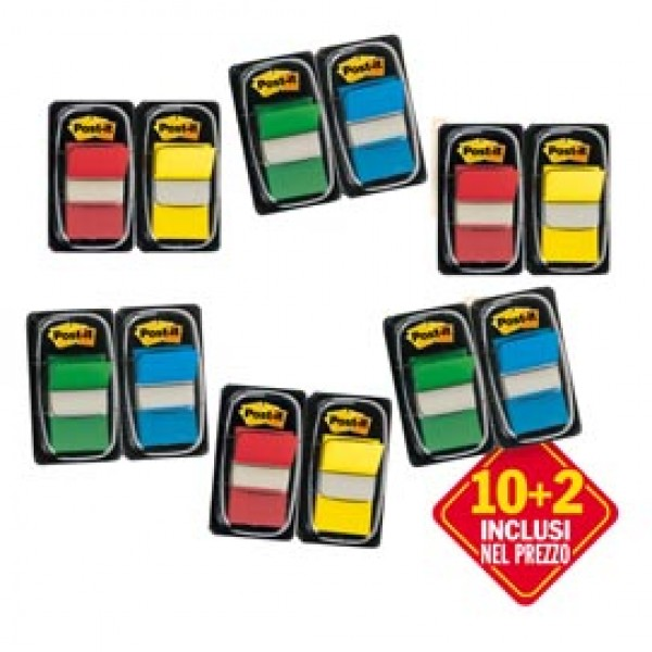 Promo Pack 10+2 Post-It Index 680 Colori Ass.
