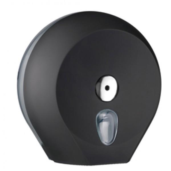 Dispenser Soft Touch di carta igienica in rotolo Mini Jumbo - 27x12,8x27,3 cm - plastica - nero - Mar Plast