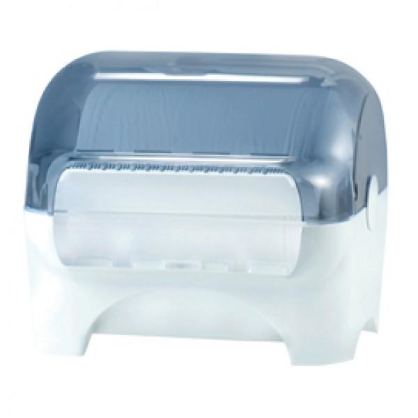 Dispenser carenato da banco Wiperbox per bobine asciugatutto - 34x31,5x36 cm - bianco/azzurro trasparente - Mar Plast