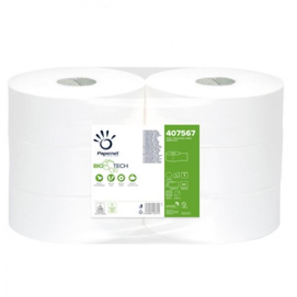Carta igienica Maxi Jumbo Bio Tech - 2 veli - microgoffrata - 16,5 gr - diametro 27 cm - 9,5 cm x 300 mt - Papernet
