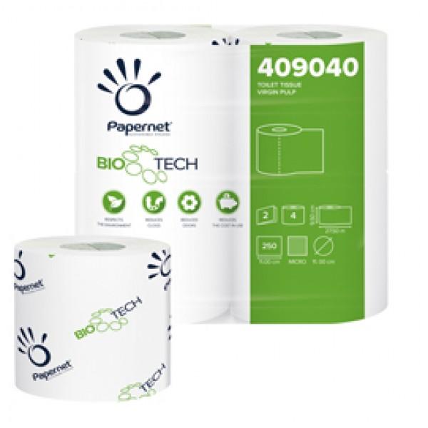 Carta igienica standard Bio Tech - 2 veli - 250 strappi - 15,5 gr - 9,5 cm  x 27,5 mt - Papernet - pacco 4 rotoli
