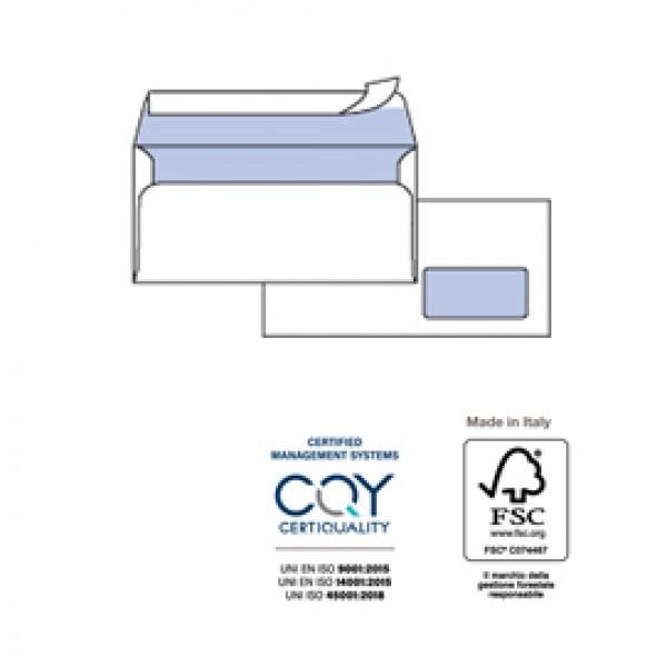 Busta bianca con finestra - serie Edera Strip Laser - certificazione FSC - adatta a stampa laser - 110x230 mm - 90 gr - Pigna - conf. 500 pezzi
