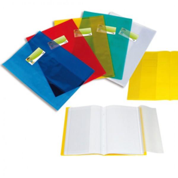 Coprimaxi - A4 - PPL -  liscio trasparente - giallo - con alette - portanome - Sei Rota