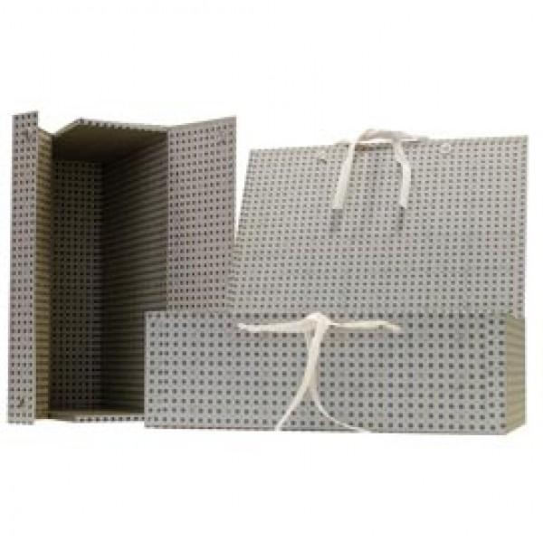Scatola archivio in legno - con fettuccia - 38x27 cm - dorso 12 cm - grigio - Brefiocart