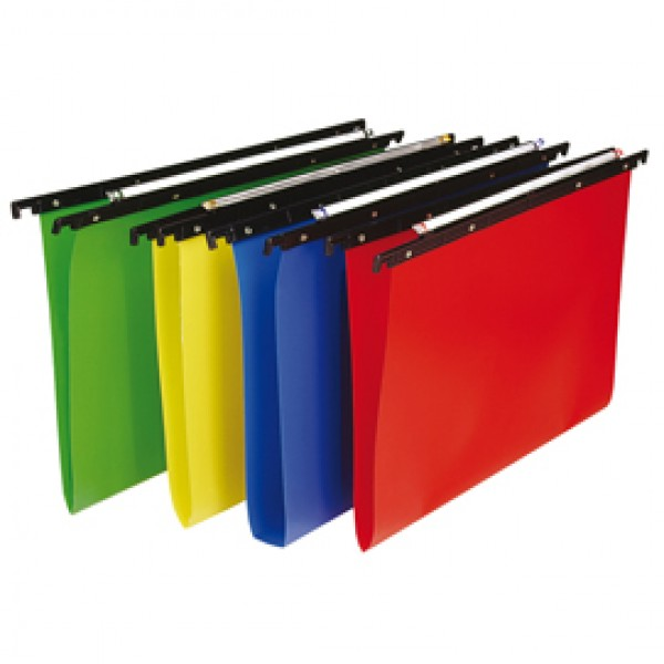 Cartella sospesa Cartesio PP - cassetto - PPL - interasse 33 cm - fondo V - 31,2x25 cm - colori assortiti - Bertesi