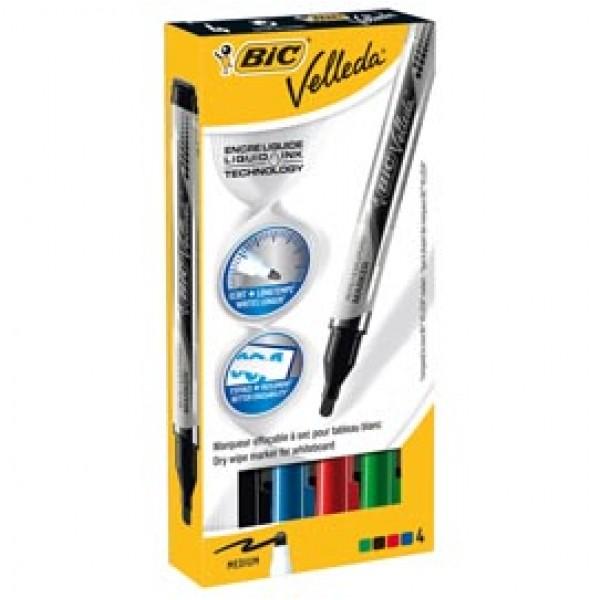 Marcatori Whiteboard Marker Velleda liquid Ink - punta tonda 2,2mm - astuccio 4 colori  - Bic