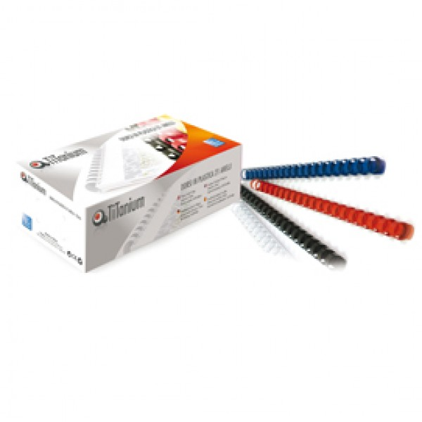 Dorsi spirale - 21 anelli - plastica - 22 mm - nero - Titanium - scatola 50 pezzi