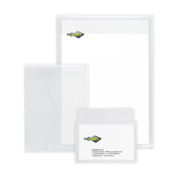Buste con patella Soft P - PPL - 8x12 cm - liscio - trasparente - Sei Rota - conf. 25 pezzi