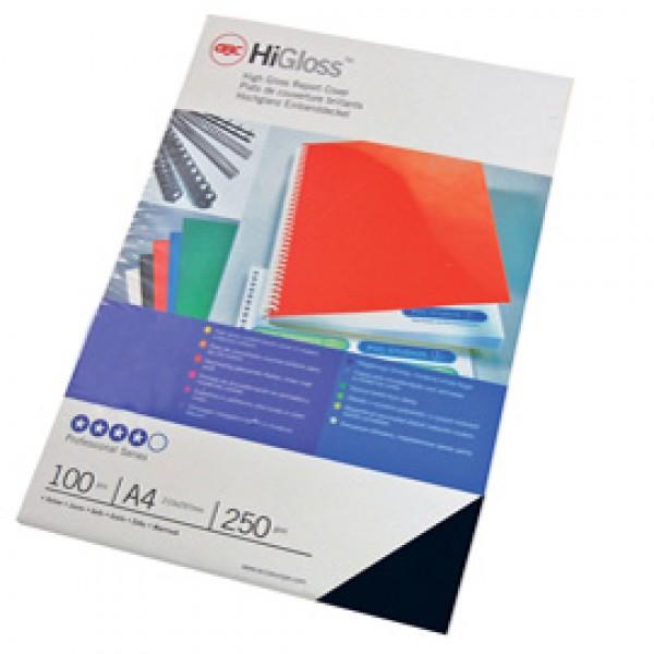 Copertine HiGloss™ per rilegatura - A4 - 250 gr - cartoncino lucido - nero - GBC - conf. 100 pezzi