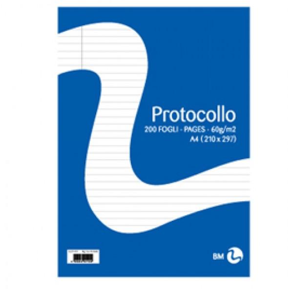 Fogli protocollo - A4 - 1 rigo - 20 fogli - 60 gr - BM
