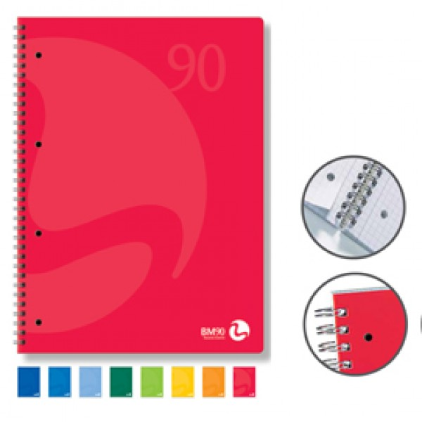 Quaderno Colors - A5 - quadretto 5mm - 60 fogli - 90gr - 4 fori microperforato - spiralato - BM