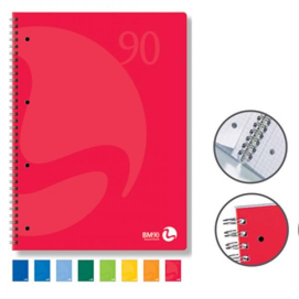 Quaderno Colors - A5 - 1 rigo - 60 fogli - 90gr - 4 fori microperforato - spiralato - BM