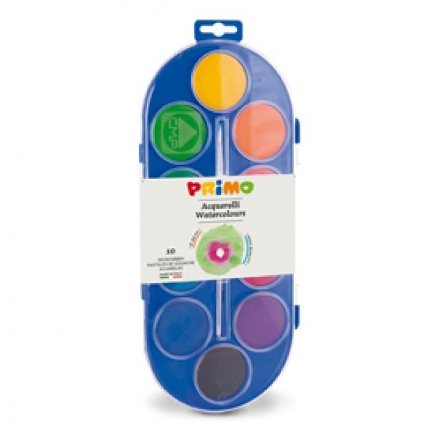 Pastiglie Acquerelli  - ø 44mm - colori assortiti - Primo - astuccio 10 pastiglie