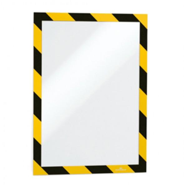 Cornice adesiva Duraframe® Security A4 - pannello magnetico - 21x29,7 cm - giallo/nero - Durable