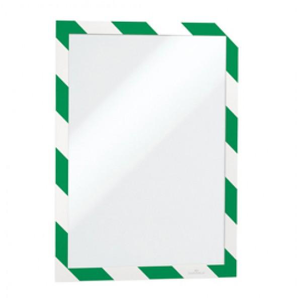 Cornice adesiva Duraframe® Security A4 - pannello magnetico - 21x29.7 cm - verde/bianco - Durable