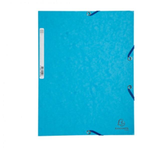 Cartellina con elastico - cartoncino lustrè - 3 lembi - 400 gr - 24x32 cm - turchese - Exacompta