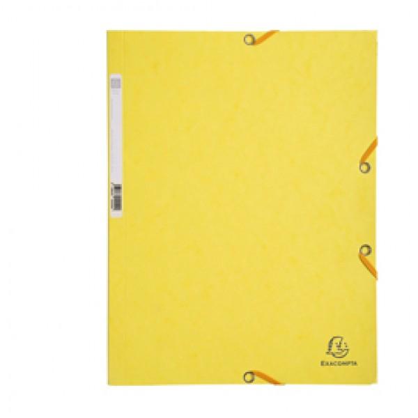 Cartellina con elastico - cartoncino lustrè - 3 lembi - 400 gr - 24x32 cm - giallo limone - Exacompta