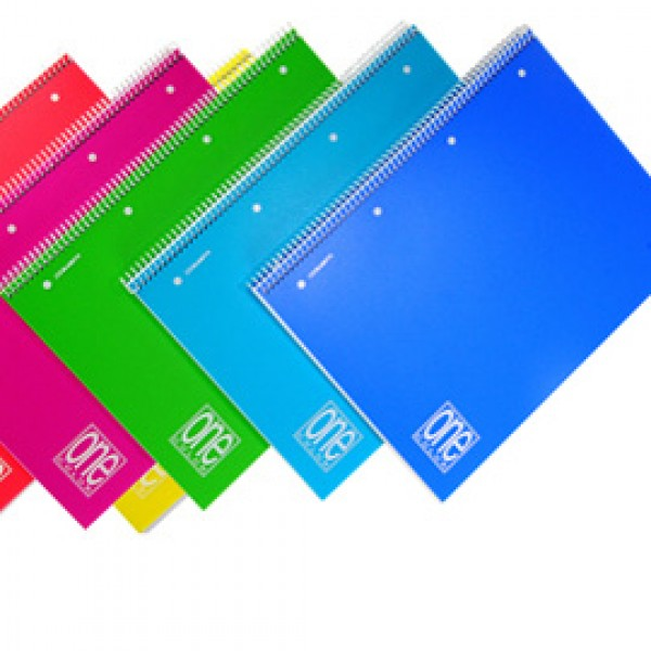 Quaderno One Color - A5 - 1 rigo - 80 fogli - 80gr - spiralato - copertina ppl - Blasetti