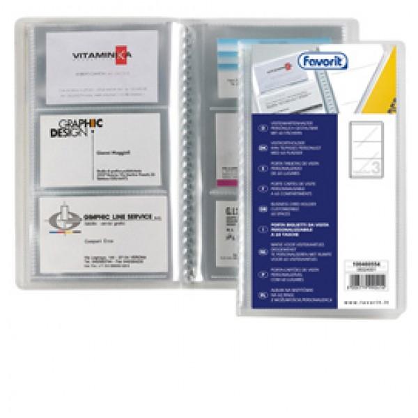 Porta biglietti da visita personalizzabile - 20 buste da 3 tasche - 12,5x20,5 cm - Favorit