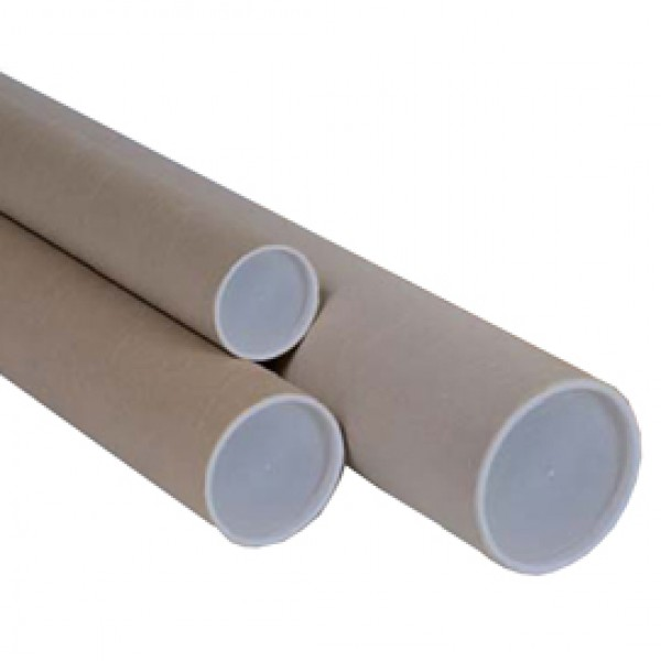 Tubo in cartone avana - doppio tappo trasparente - altezza 50 cm - diametro 10 cm - Polyedra
