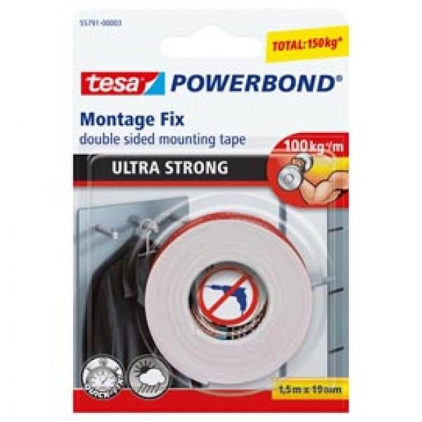 Nastro biadesivo Tesa® Powerbond Ultra Strong - 19 mm x 1,5 mt - bianco - Tesa®