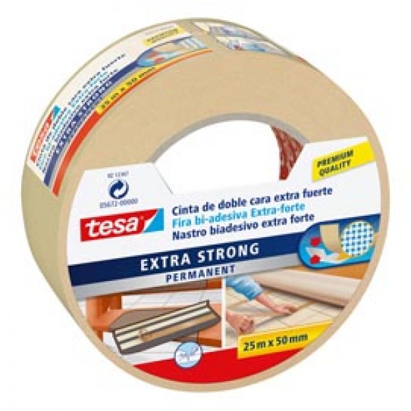 Nastro biadesivo Extra Forte - 50 mm x 25 m - bianco - Tesa®