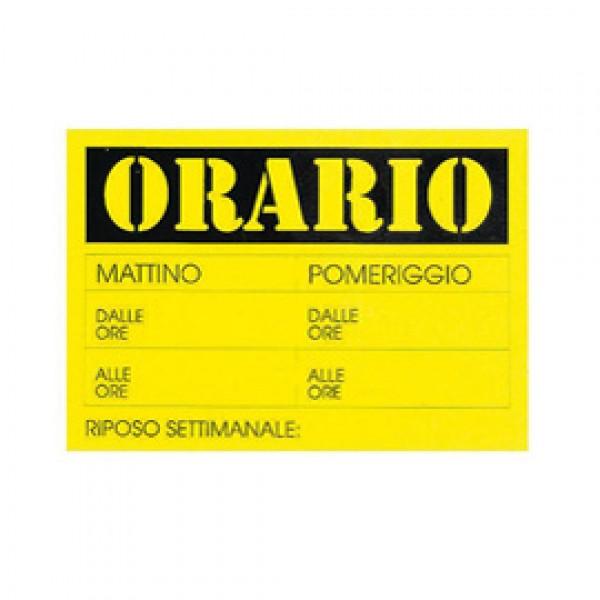 CARTELLO IN CARTONCINO 'ORARIO dalle..alle..' 23x32cm CWR 315/13 ( Conf. 10 ) - 315/13
