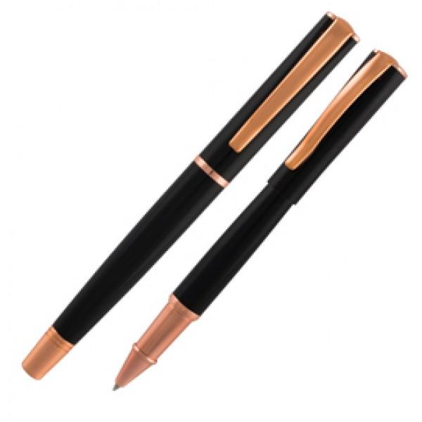Roller Linea Impressa - punta M - nero/rosegold - Monteverde