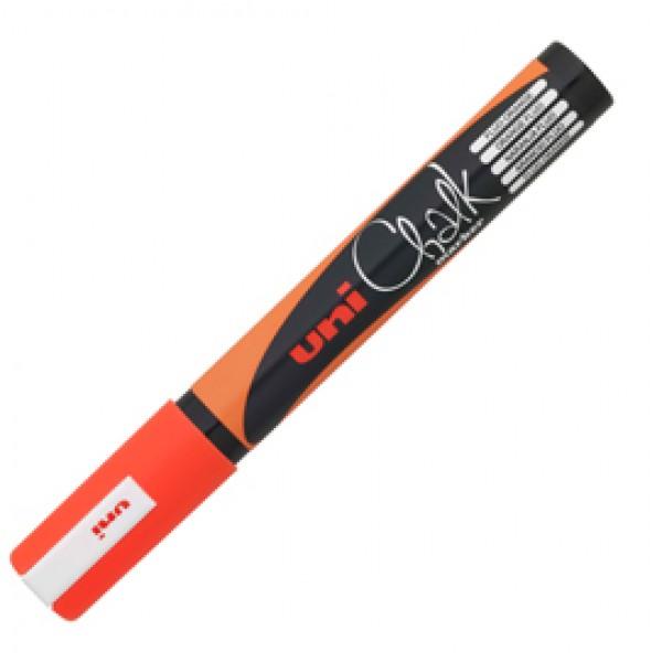 Marcatore a gesso liquido Uni Chalk Marker - punta tonda da 1,80-2,50mm - arancio fluo - Uni Mitsubishi