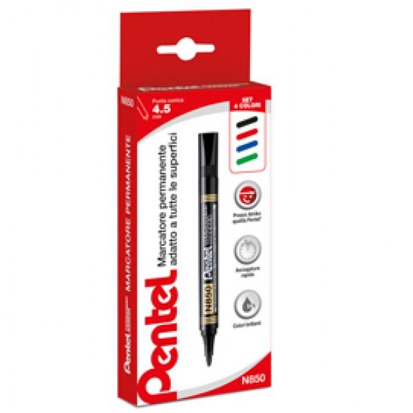 Marcatore Permanent Marker N850 linea Amiko - astuccio 4 colori - punta conica 4,50mm - Amiko
