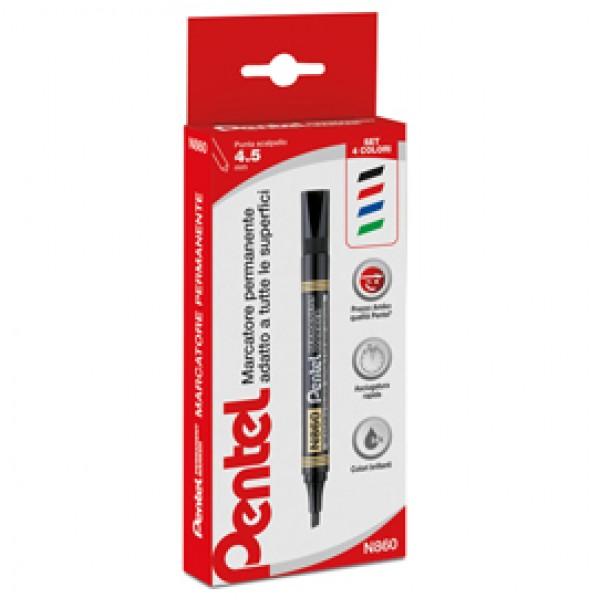 Marcatore Permanent Marker N860 linea Amiko - punta a scalpello 4,5mm - astuccio 4 colori - Amiko