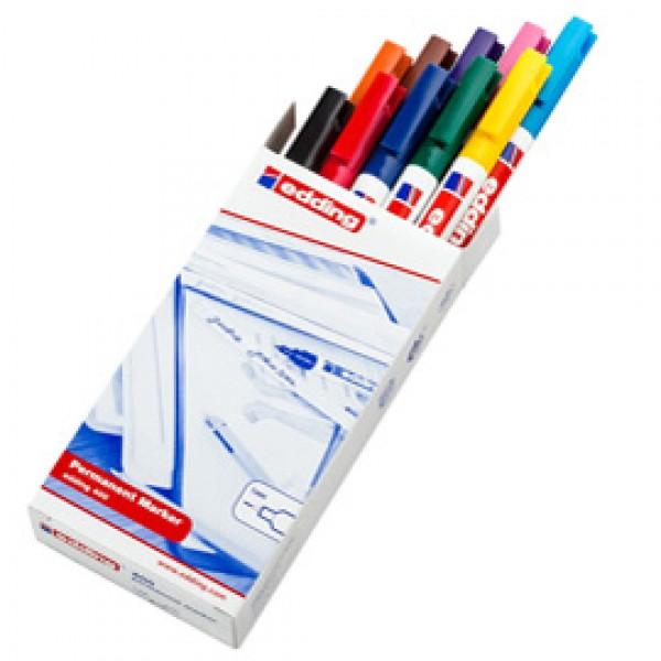 Marcatore permanente Edding 400  - punta conica - tratto  2,00mm a 4,00mm - astuccio 10 colori assortiti - Edding