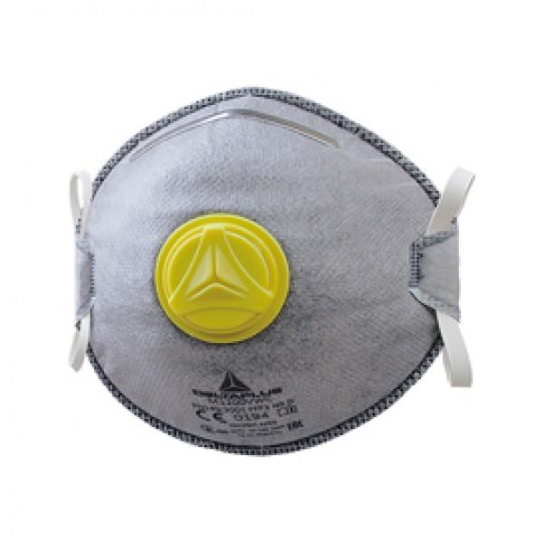 Mascherina filtrante FFP2  - per vapori organici - con valvola - monouso - Deltaplus - conf. 10 pezzi (imbustati singolarmente)
